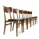 Vintage Deense set van 6 eettafel stoelen in teak