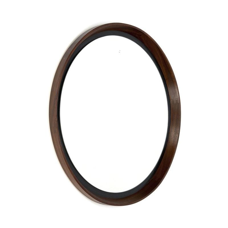 Round vintage mirror wenge wood for Miroir wenge