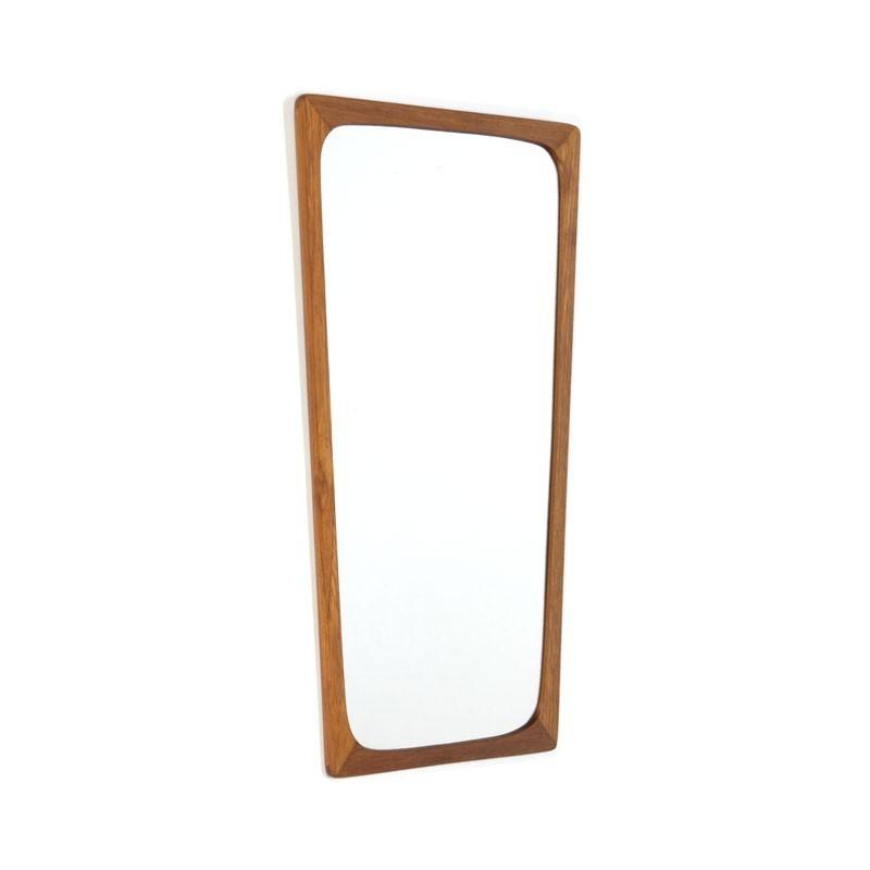 Danish vintage mirror with narrow teak edge