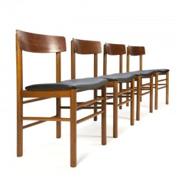 Danish vintage set of 4 dining chairs in teak