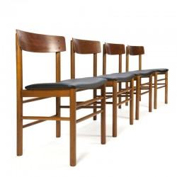 Deense vintage set van 4 eettafel stoelen in teak