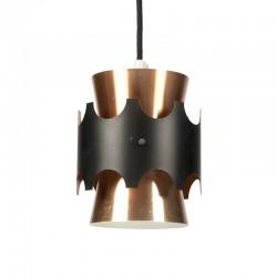 Vintage Deens hanglampje zwart/ koper
