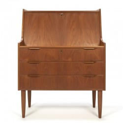 Vintage teak Danish secretaire with drawers