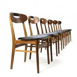 Deense vintage set van 6 teakhouten eettafel stoelen