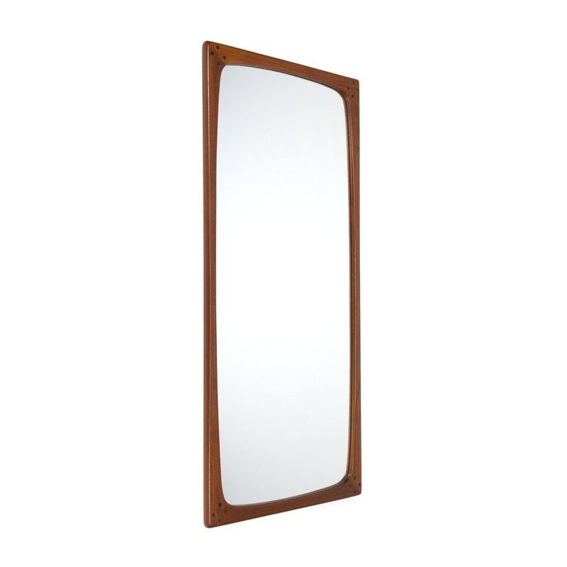Danish large vintage design mirror of teak wood