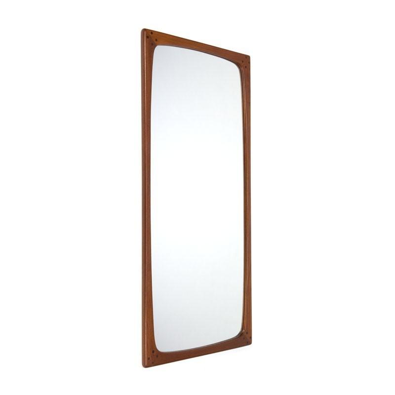 Deense grote vintage design spiegel van teakhout
