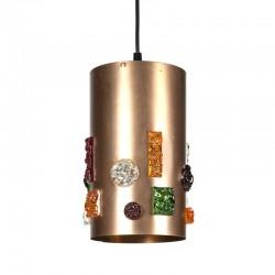 Vintage copper cylinder pendant lamp