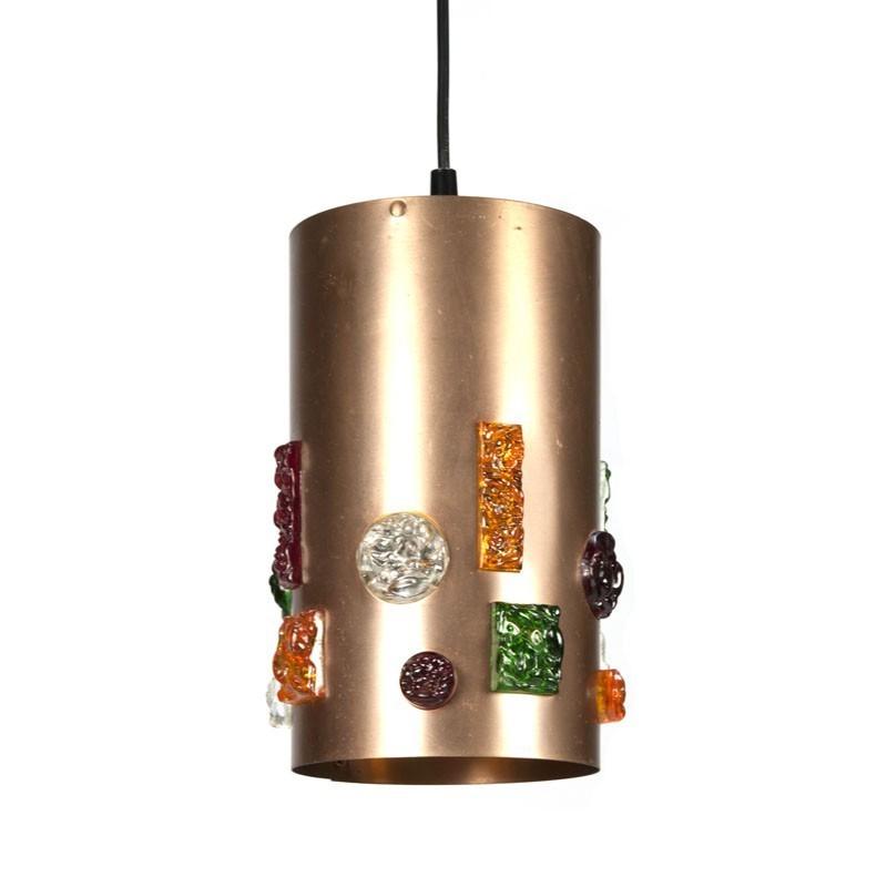 Vintage cilinder hanglamp koper