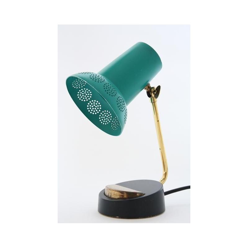 Groen/koperen tafel-/ bureaulamp