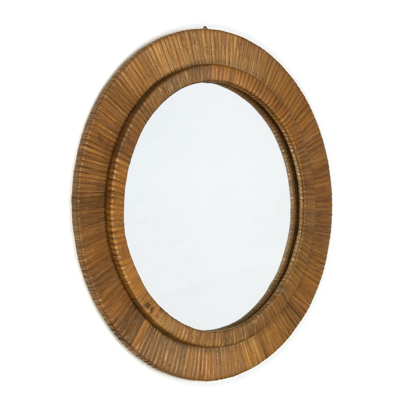 Vintage mirror with edge wrapped with cane