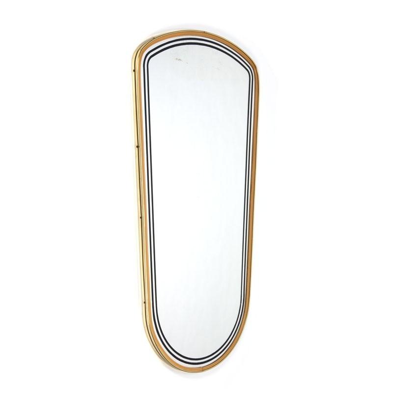 vintage spiegel met messing detail. Black Bedroom Furniture Sets. Home Design Ideas