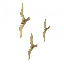 Vintage set van 3 messing vogels