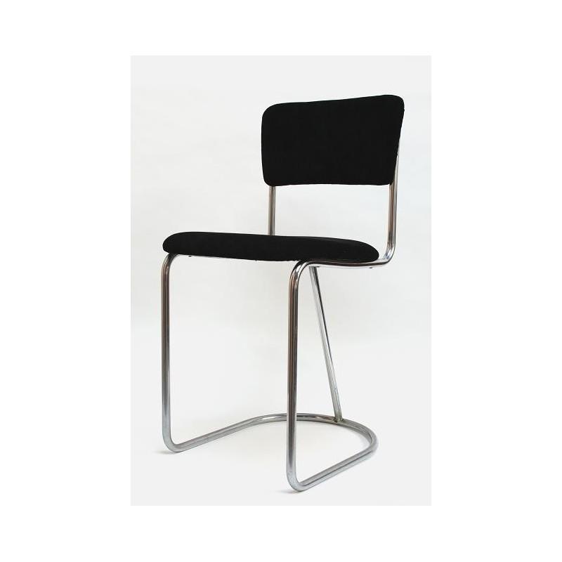 Buisframe stoel met zwarte ribstof