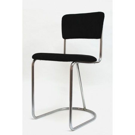 Tube frame chair with black upholstery