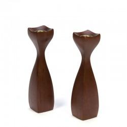 Danish vintage set of 2 teak candle holders
