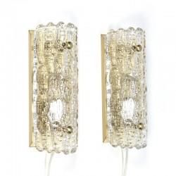 Vintage set van 2 wandlampen ontwerp Carl Fagerlund voor Orrefors