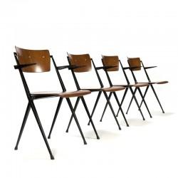 Vintage Pyramide stoelen set van 4 ontwerp Wim Rietveld