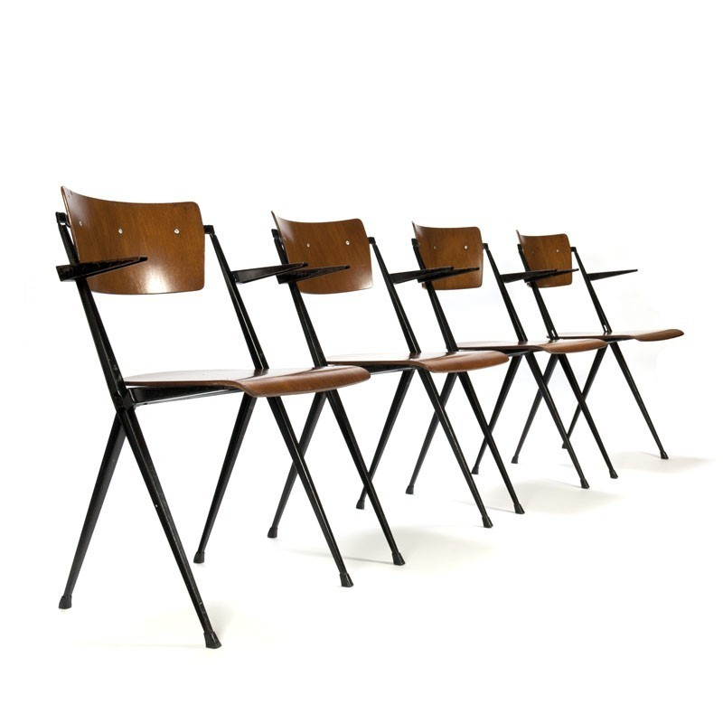 Vintage Pyramid chairs set of 4 design Wim Rietveld