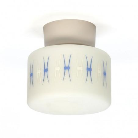 Vintage plafondlamp met blauw detail