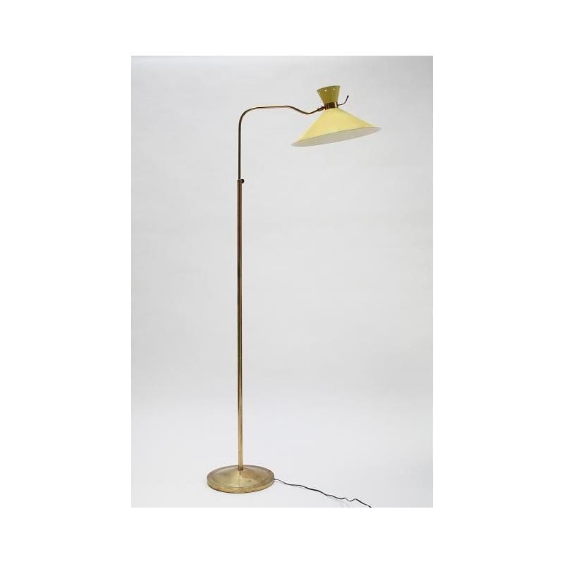Geel/ koperen jaren 50 vloerlamp