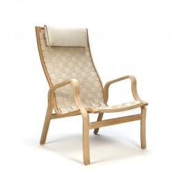 Vintage Deense fauteuil met geweven linnen