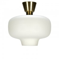 Vintage ceiling light white milk glass with brass detail