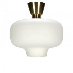 Vintage plafondlamp wit melkglas met messing detail