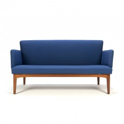 Danish vintage teak sofa with blue fabric