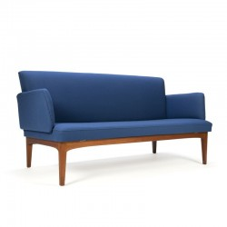 Danish vintage teak sofa with blue fabric