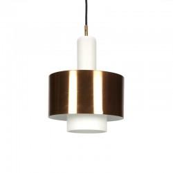 Vintage Deense glazen hanglamp met koper