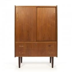 Teak vintage Danish cabinet with sliding doors