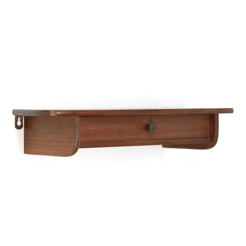 Boekenplank Met Lade.Teakhouten Deense Vintage Plank Met Lade Retro Studio