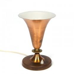 Vintage koperen tafellamp jaren zestig