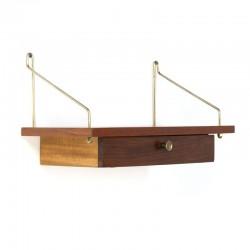 Boekenplank Met Lade.Deense Vintage Plank Met Lade Messing Detail Retro Studio