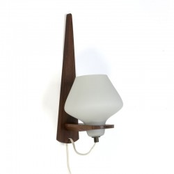 Vintage milk glass wall lamp with teak