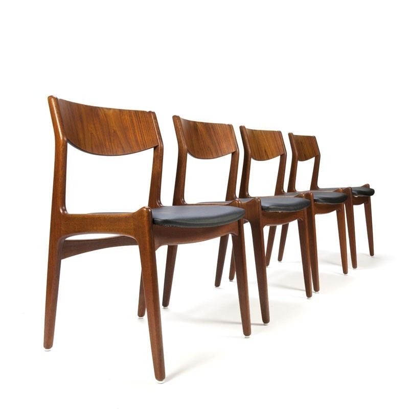Vintage Teak Danish Dining Chairs Set Of 4