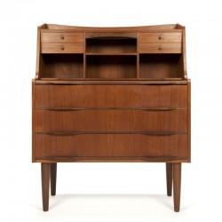 Deens teakhouten vintage secretaire meubel