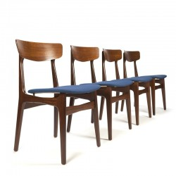 Deense vintage set van 4 eettafel stoelen blauw