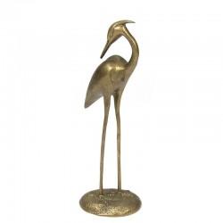 Vintage crane bird sculpture brass