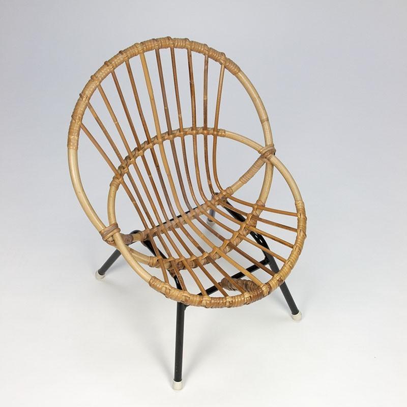 Retro Rotan Kinderstoeltje.Vintage Rotan Kinderstoeltje Retro Studio