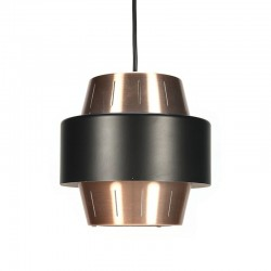 Vintage kleine Deense hanglamp koper/ zwart