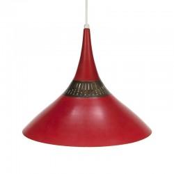 Vintage rood metalen hanglamp jaren vijftig