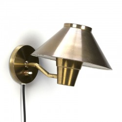 Vintage Danish brass wall lamp with separate cap