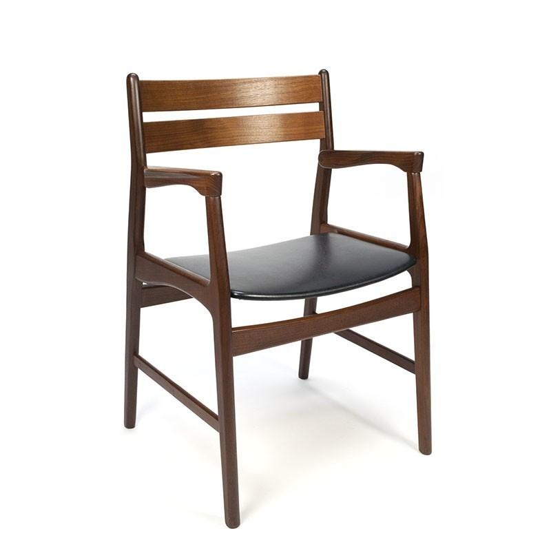 Bureaustoel Met Armleuning.Vintage Teakhouten Deense Bureaustoel Met Armleuning
