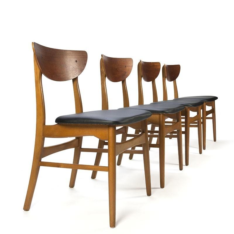 vintage teakhouten set van 4 deense eettafel stoelen