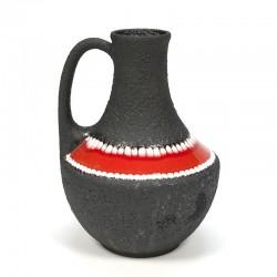 Vintage vaas aardewerk met rode band