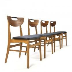 Vintage Deense set van 4 stoelen in teak