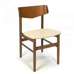 Deense vintage teakhouten stoel met plywood rugleuning
