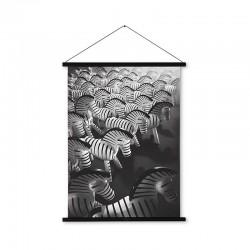 Zwart/ wit kunst foto van zebra's op canvas Kay Bojesen Gallerie