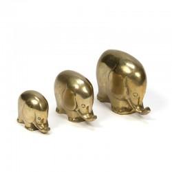 Messing vintage set van 3 olifantjes